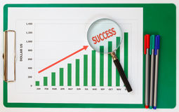 Success chart for business. Success chart and pens of business Stock Images