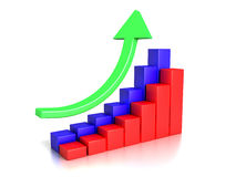 Success Charts. 3D image of success charts.  on white Stock Photos