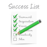Success check list. Vector sample success check list Royalty Free Stock Image