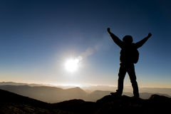 Success climb. Crazy adventurous and climber.Discovery and adventure Royalty Free Stock Image