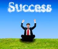 Success cloud. Business man enjoying success outdoor stock photography