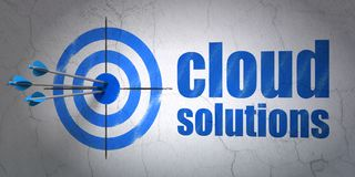 Cloud computing concept: target and Cloud Solutions on wall background Stock Photography