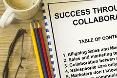 Success through collaboration. Concept between sales and marketing people teamwork Royalty Free Stock Images