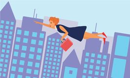 Business woman flying across the city. Royalty Free Stock Photography