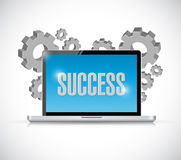 Success computer sign and gears Royalty Free Stock Image