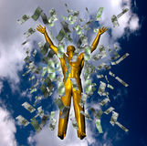 Success concept. 3d illustration, catching money on the sky, success concept Royalty Free Stock Photos