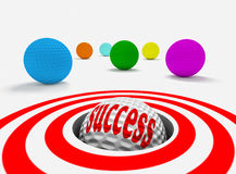 Success concept. Conceptual 3d image of success with golf balls Royalty Free Stock Photography