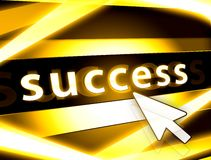 Success concept. Golden success symbol concept with rays and arrow Stock Images