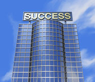 Success concept. One 3d render of a skyscraper and a poster with the success word on the roof royalty free illustration