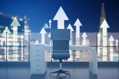 Success concept. Abstract roof office with night city view and upward arrows. Success concept, 3D Rendering Royalty Free Stock Images