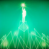 Success concept. Abstract white man figure with star in hand standing on abstract polygonal moountain. Success concept. Green background. 3D Rendering Stock Images