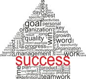 Success concept. Arrow with different associations. Success concept related words in tag cloud isolated on white. Arrow with different association terms Royalty Free Stock Image