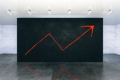Success concept with arrow sketch. Upward arrow sketch and black wall in modern interior. Success concept. 3D Rendering Stock Images