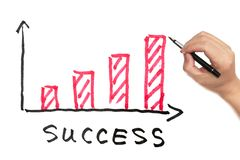 Success concept. With bar chart drawn on white board Royalty Free Stock Photography