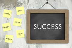 Success Concept. With blackboard and notes on the wall Royalty Free Stock Image