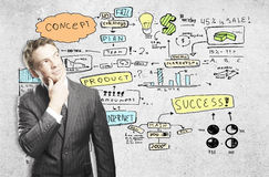 Success concept. Businessman with creative business sketch. Success concept Stock Photo