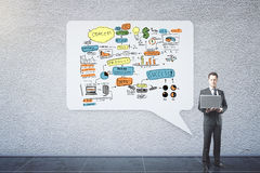 Success concept. Businessman with laptop standing next to abstract speech bubble with business sketch. Success concept Royalty Free Stock Photography