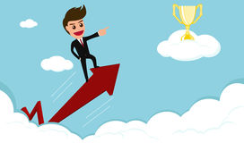 Success concept.businessman rides red arrow to trophy on cloud. Stock Photos