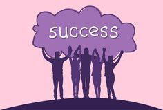 Success Concept Cheerful Group Of Business People Holding Raised Hands Happy Successful Team Silhouettes Stock Photos