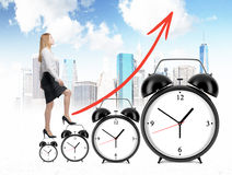 Success concept clock ladder Royalty Free Stock Photography