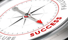 Success Concept. Compass with needle pointing the word success. Conceptual illustration for motivation purpose. Business concept image Stock Photography