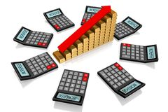 Success concept. 3D calculator concept - on white background Royalty Free Stock Photos