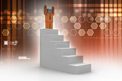 Success concept, 3d man standing on top Royalty Free Stock Photo