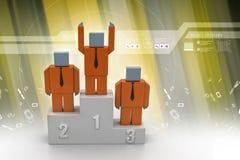 Success concept, 3d man standing on top Stock Photos