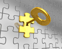 Success concept. 3d puzzle with golden key. Royalty Free Stock Photo