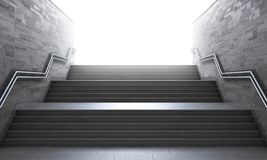 Success concept. Front view of a gray staircase with metal railing leading to up. Concept of success. 3d illustration Stock Image
