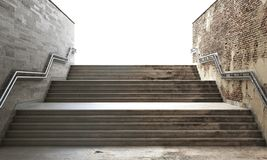 Success concept. Front view of a gray staircase with metal railing leading to up. Concept of success. 3d illustration Stock Images