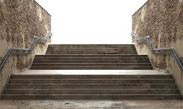 Success concept. Front view of a gray staircase with metal railing leading to up. Concept of success. 3d illustration Royalty Free Stock Photography