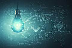 Success concept. Glowing lamp on concrete wall background with business sketch. Success concept. 3D Rendering Royalty Free Stock Images