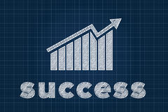 Success concept with graph on blueprint Royalty Free Stock Images