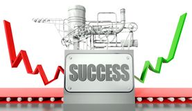 Success concept with graph and machine Stock Images