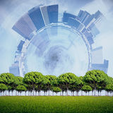 Success concept. Green tress on abstract city background. Success concept Stock Photo