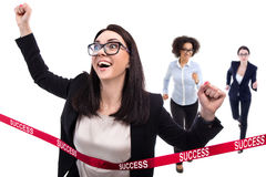 Success concept - happy running business woman crossing finish l Royalty Free Stock Photo