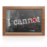 Success concept with I can on blackboard Royalty Free Stock Photos