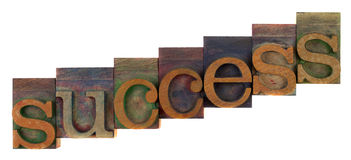 Success concept - letterpress wooden type Royalty Free Stock Photos