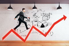 Success concept with man on arrow Royalty Free Stock Photo