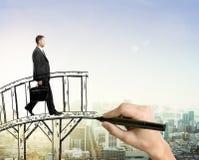 Success concept man on bridge Stock Photo