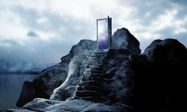 Success concept. Mountain steps leading to abstract open door with view on sky background. Success concept. 3D Rendering stock illustration