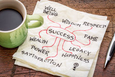 Success concept on napkin. Success concept or mindmap on a napkin with cup of coffee royalty free stock photography