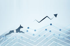Success concept. Side view of abstract dog figure running up business charts with arrow. Success concept. 3D Rendering Royalty Free Stock Photos