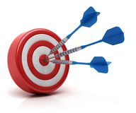 Success darts. Success concept. Target with 3 darts arrows hitting center target royalty free illustration