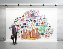 Success concept. Thoughtful businessman in brick room with colorful business sketch. Success concept. 3D Rendering Stock Photography