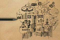 Success concept. Top view of brown paper background with pen and business sketch. Success concept Royalty Free Stock Image
