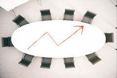 Success concept. Top view of conference table with red chart arrow. Success concept. 3D Rendering Royalty Free Stock Images
