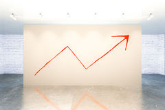 Success concept. With upward red arrow sketch in modern interior. 3D Rendering Stock Photos