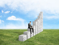 Success concept. Young businessman using laptop computer while sitting on abstract concrete chart bars with business doodles on grass and sky background. Success Stock Images